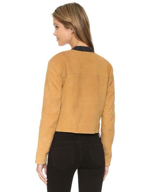 Free People Suede Collarless Jacket In Orange Golden Haze