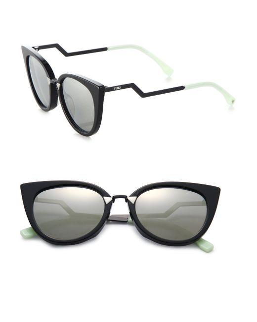 Fendi | Black Zig-zag Arm 52mm Cat's-eye Sunglasses | Lyst