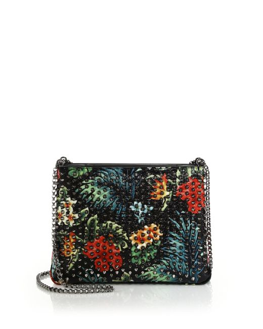 Christian Louboutin Triloubi Large Studded Floral-print Leather Crossbody Bag In Multicolor ...
