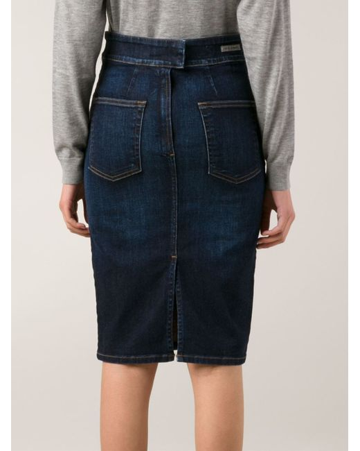 citizens of humanity denim pencil skirt in blue lyst