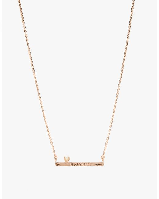 Bing Bang | Pink Pearl Bar Necklace | Lyst