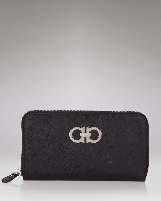 Ferragamo | Black Wallet - Saffiano Giove Zip Around Continental | Lyst