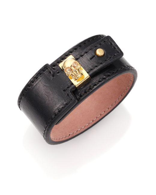Alexander McQueen | Metallic Skull Keeper Wide Leather Bracelet/goldtone | Lyst