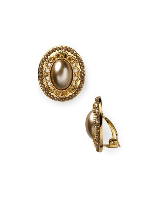 Carolee   Metallic Oval Button Earrings   Lyst