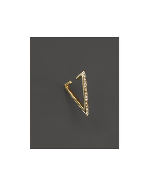 Zoe Chicco | Metallic 14k Gold Reversible Triangle Ear Cuff With Pave Diamonds | Lyst