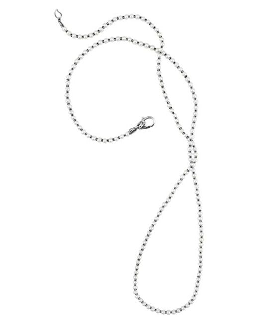 Lagos | Metallic 'luna' Long Micro Bead & Pearl Necklace | Lyst