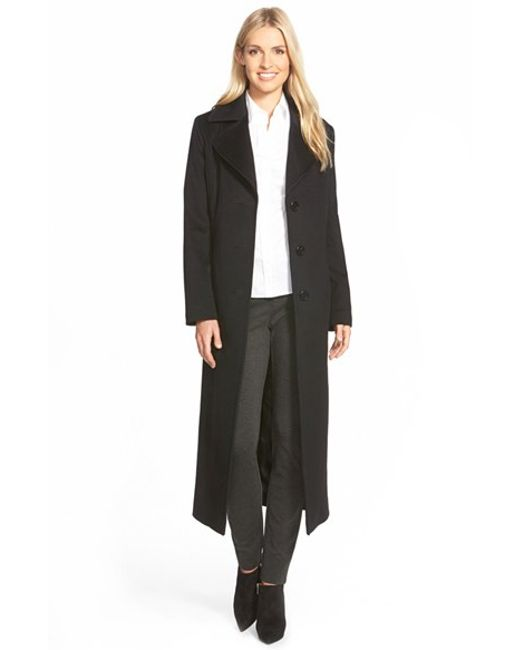 Fleurette | Black Long Wool Notch Collar Coat | Lyst