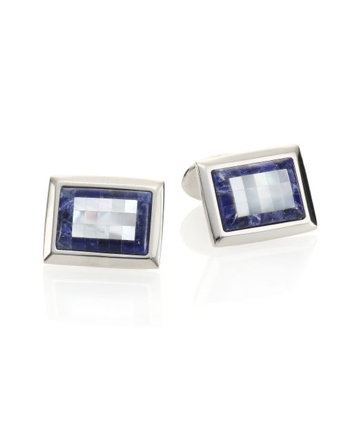 David Donahue | Blue Sterling Silver, Sodalite & Mother Of Pearl Cuff Links | Lyst