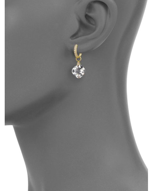 Jude Frances | Metallic Classic White Topaz, Diamond & 18k Yellow Gold Cushion Earring Charms | Lyst