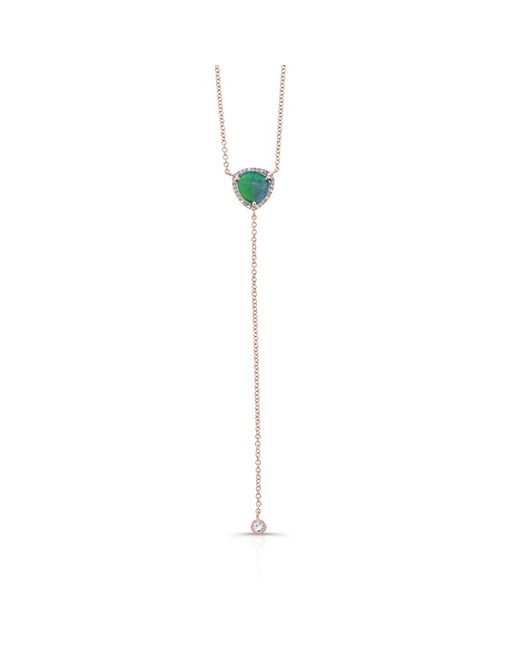 Anne Sisteron - Metallic 14kt Rose Gold Diamond Opal Lariat Flirt Lariat Necklace - Lyst