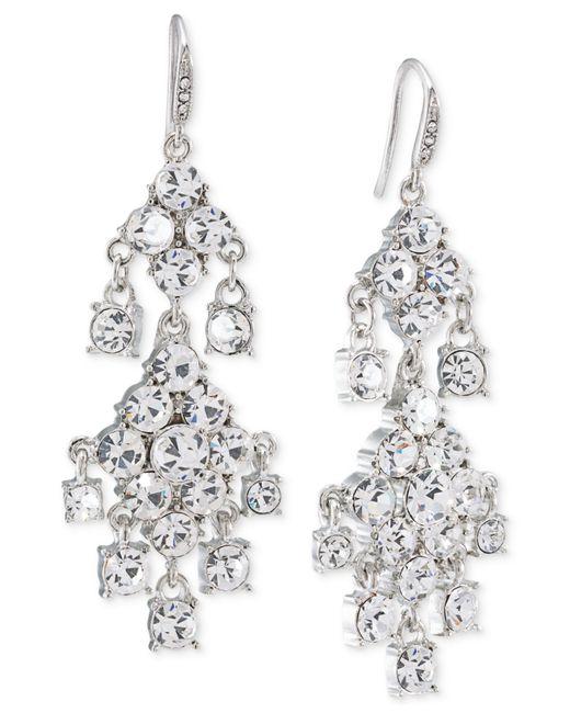 Carolee | Metallic Silver-tone Crystal Double-drop Chandelier Earrings | Lyst