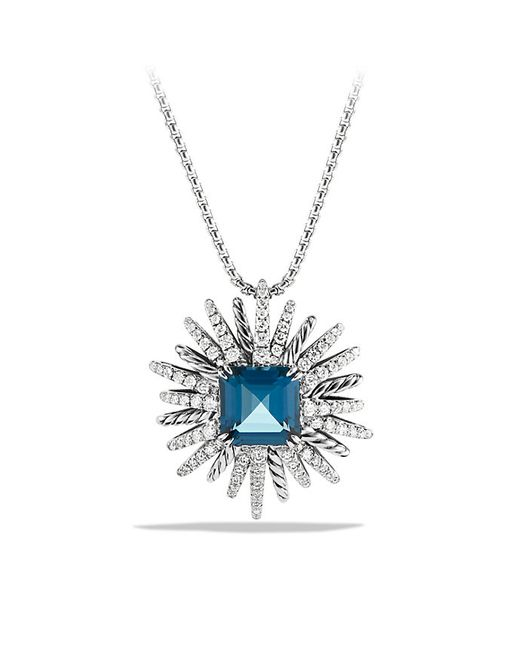 David Yurman | Starburst Pendant Necklace With Hampton Blue Topaz And Diamonds, 30mm | Lyst