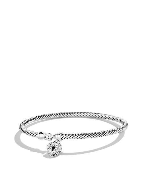 David Yurman Heart Lock Bracelet With Diamonds In Silver