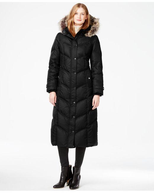 London Fog | Black Petite Faux-fur-trim Down Maxi Coat | Lyst