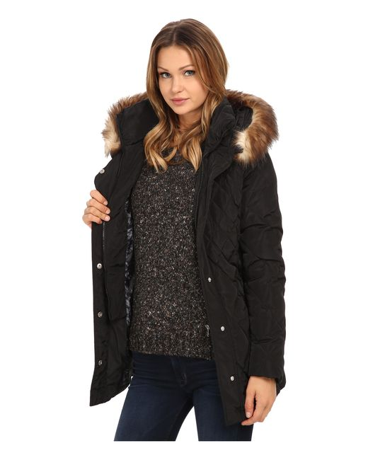 Jessica Simpson | Black Quilted Down With Faux Fur Trim | Lyst