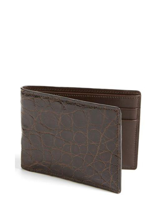 Boconi | Brown Crocodile Slimfold Wallet for Men | Lyst