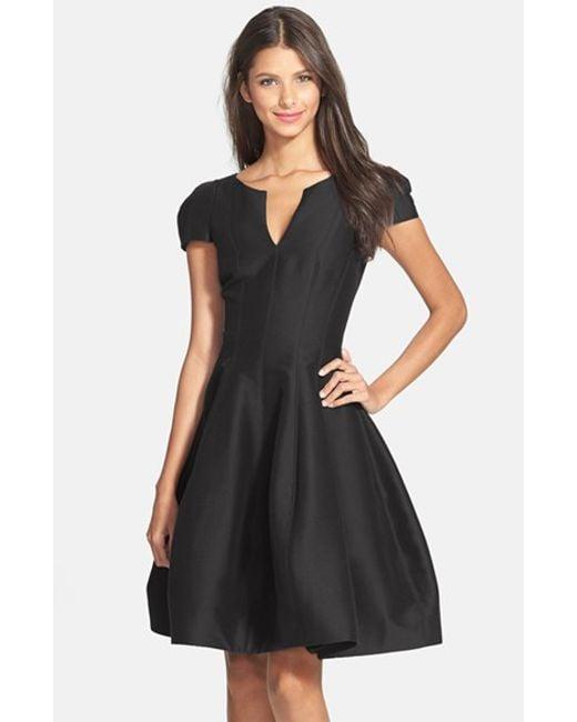 Halston | Black Cotton & Silk Fit & Flare Dress | Lyst