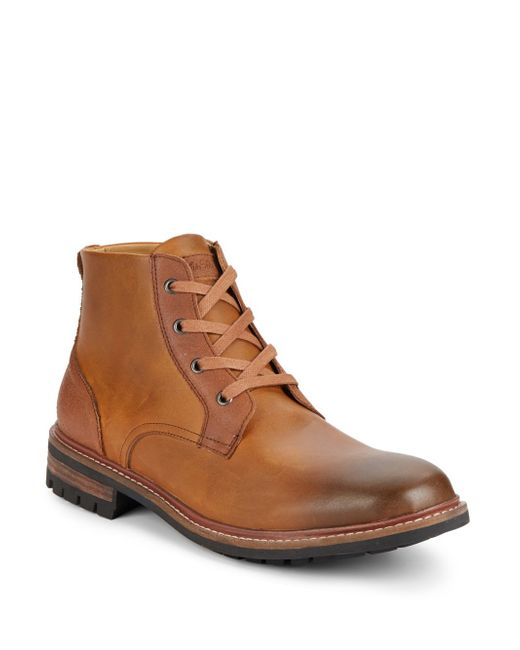 saks fifth avenue darrell leather boots in brown for