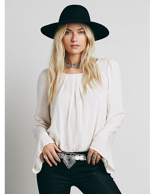 Free People | White Solid Open Back Drape Top | Lyst