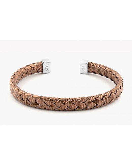 Tateossian | Bamboo Bracelet In Tightly Weaved Brown Ruthenium Plated Silver With Silver Caps for Men | Lyst