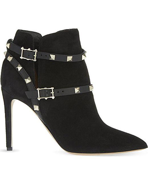 Valentino | Black Garavani Rockstud Suede Ankle Boots | Lyst
