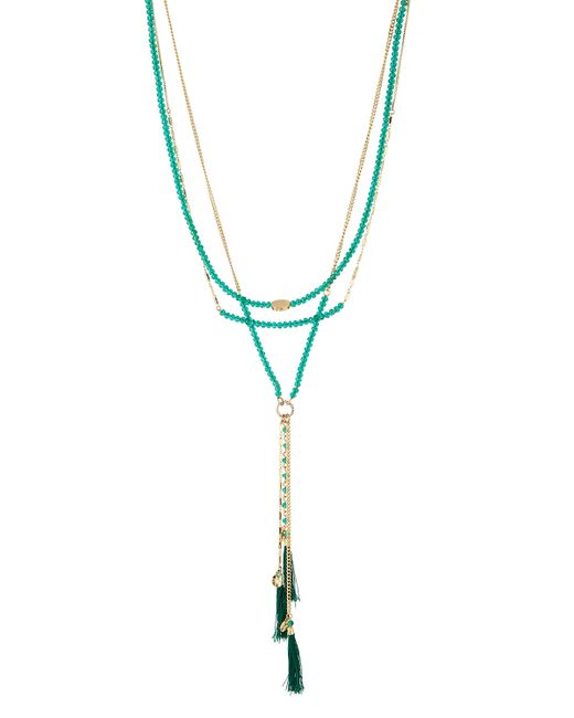 Lydell NYC | Green Multi-strand Layered Tassel Necklace | Lyst