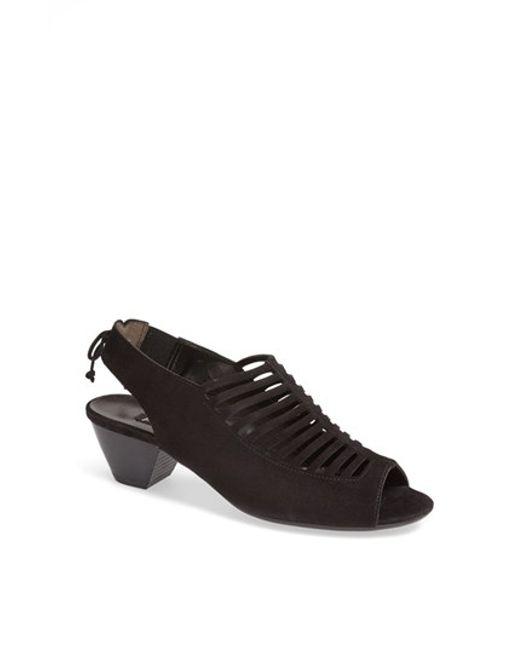 Paul Green | Black Trisha Suede Cut-Out Sandals | Lyst
