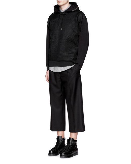 mcq alexander mcqueen oversized mesh front hoodie in black for men lyst. Black Bedroom Furniture Sets. Home Design Ideas
