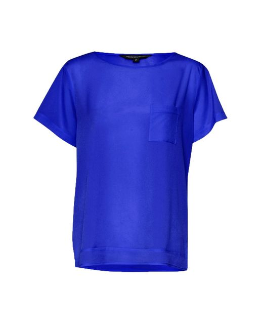 French connection polly plains pocket t shirt in blue lyst for French blue t shirt