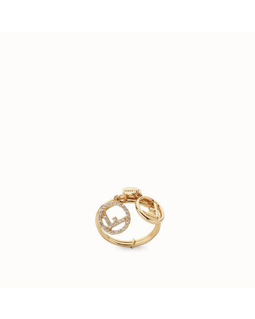 Fendi - Metallic Double-logo Charm Ring - Lyst