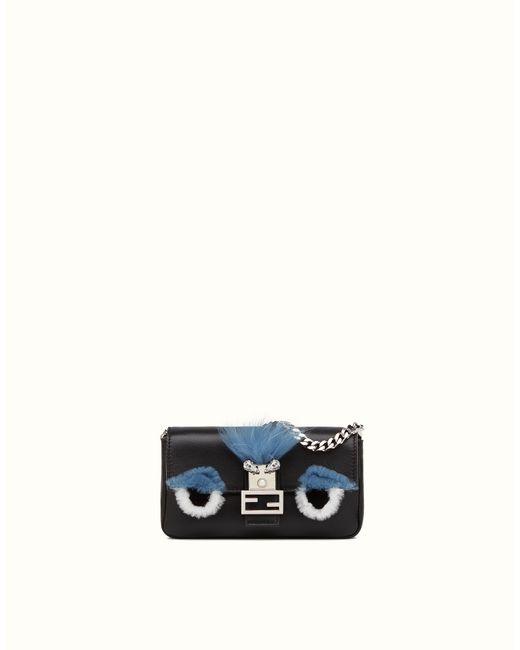 Fendi | Micro Monster Leather Baguette Bag - Black | Lyst