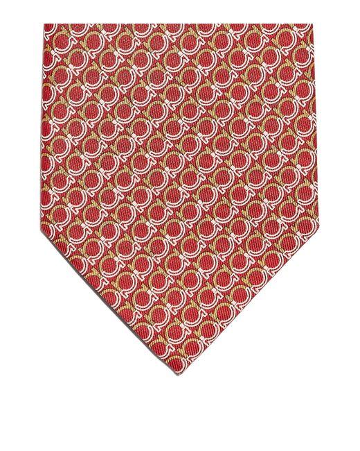 Ferragamo Red Gancini Print Tie for men