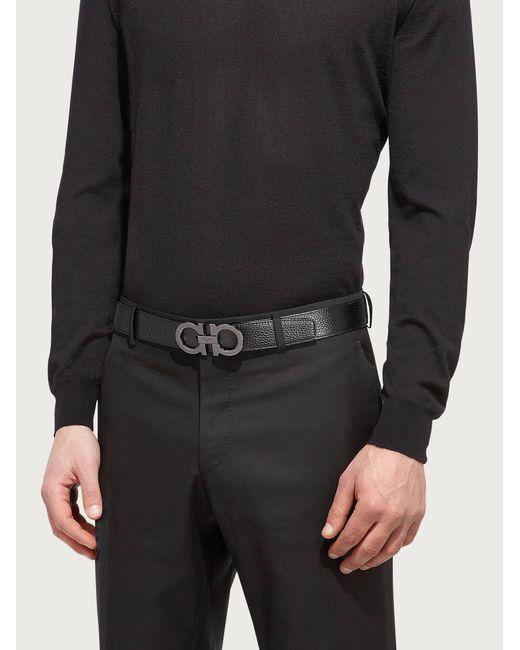 Uomo Cintura reversibile e regolabile Gancini di Ferragamo in Black da Uomo