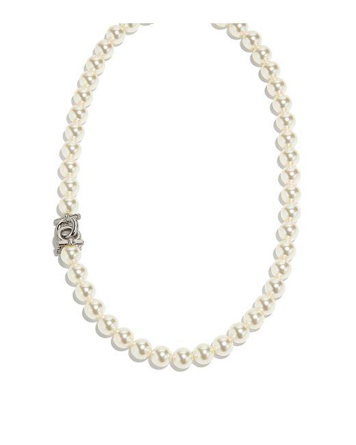 Ferragamo - Metallic Swarovski Pearls Necklace - Lyst