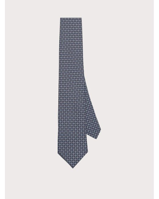 Ferragamo Blue Gancini Print Silk Tie for men