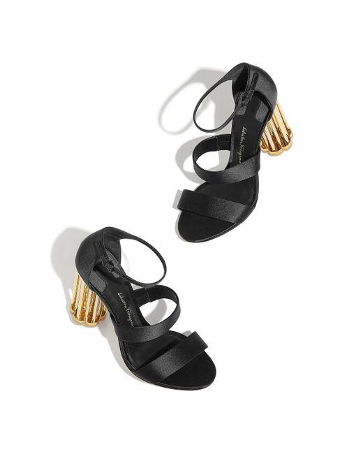 dccdd5011ff5 ... Ferragamo - Black Caged-heel Patent Leather Sandals - Lyst ...