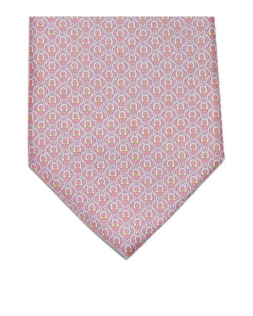 Ferragamo Blue Gancini Print Silk Classic Tie for men
