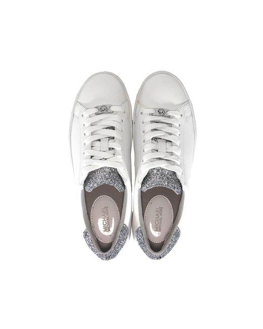 Michael Kors White Irving Embellished-leather Sneaker