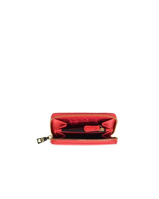 CARTERA PEQUEÑA ROJA LOGO ORO Love Moschino de color Red