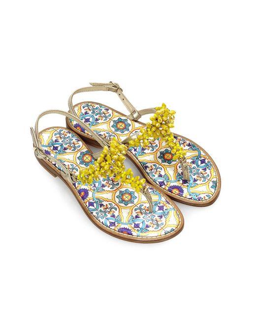 Giallo Positano Geel Majolica Platte Sandalen in het Yellow