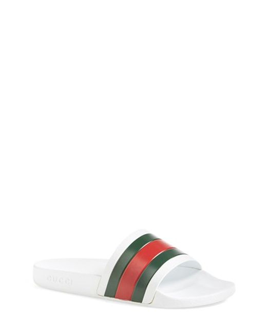 Gucci | Green Striped Rubber Slides for Men | Lyst