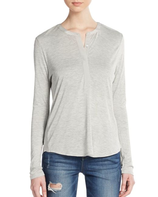 VINCE | Gray Contrast Placket Henley Tee | Lyst