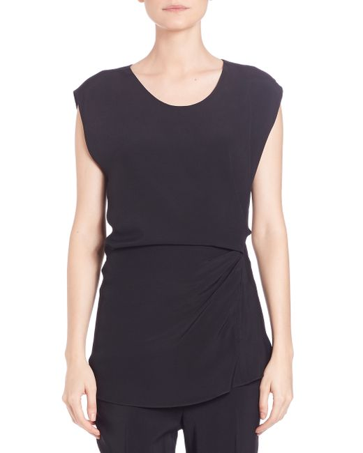 3.1 Phillip Lim | Black Ruched Cap-sleeve Top | Lyst