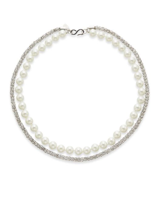 Kenneth Jay Lane   Metallic Pavé Rope & Faux Pearl Two-strand Necklace   Lyst