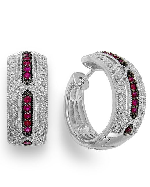 Macy's | Metallic Ruby (1/3 Ct. T.w.) And Diamond Accent Hoop Earrings In Sterling Silver | Lyst