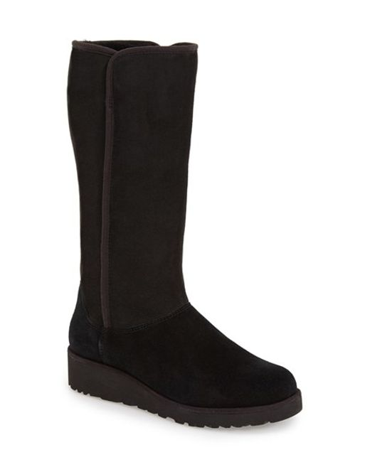ugg kara classic slim suede boots in black black suede