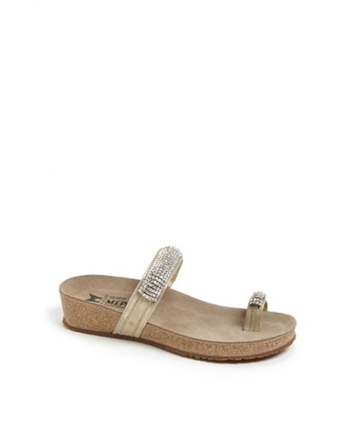 Mephisto | Metallic Izabel Cork-Footbed Embellished Sandals | Lyst