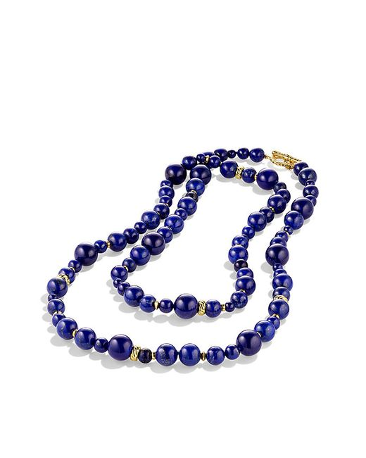 David Yurman | Blue Dy Signature Bead Necklace With Lapis Lazuli In 18k Gold | Lyst