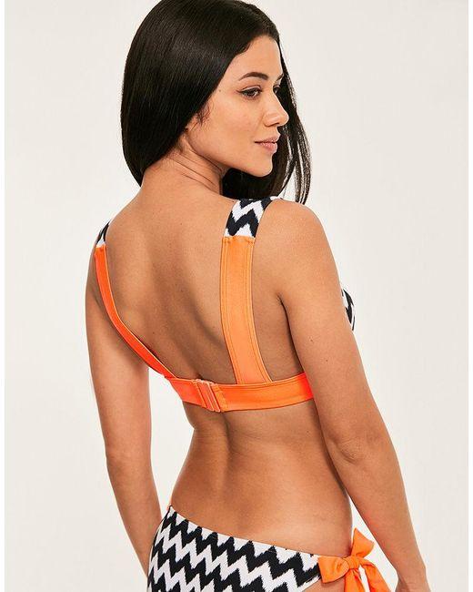 c2d6d51dc7 Figleaves Juno Luxe High Apex Plunge Bikini Top in Orange - Lyst