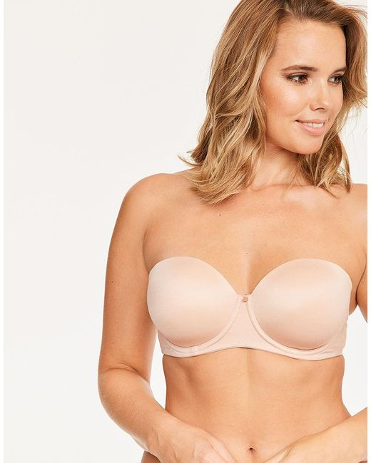 Figleaves - Natural Smoothing Strapless Balcony Bra A-h Cup - Lyst